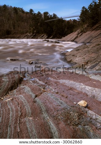 hdr shot of a natural park in quebec,canada. Slow shutter speed. Focus on the ground