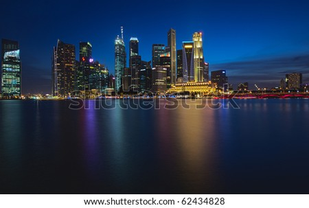 HDR Skyline View of Singapore City from the Water at Night!