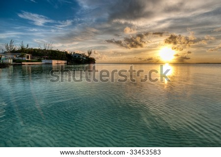 HDR Sunset in Ten Bay, Eleuthera, Bahamas.