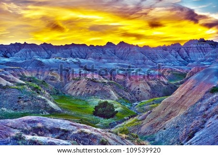 HDR Sunset in The Badlands, South Dakota, USA. High Dynamic Range Photography. HDR Photo Collection.