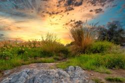 HDR sunset Landscape of Oman. wadi al khoud muscat Oman.
