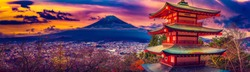 HDR sunset of Chureito Pagoda and Mt. Fuji in autumn
