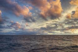 HDR sunset over sea horizon