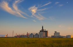 HDR view of the grain elevator in the canadian prairies