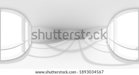HDRI environment map of empty white business office room with empty space and sun light from large window, colorless white 360 degrees spherical panorama background 3d illustration Stock fotó ©