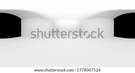 HDRI environment map of inner space of white studio room or light box studio tool simple 360 degrees spherical panorama background, 3d equirectangular illustration
