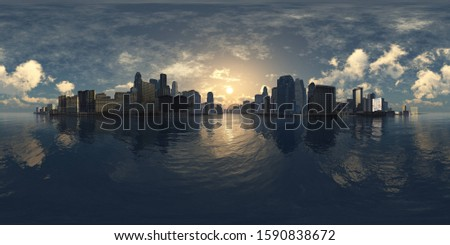 HDRI, environment map, Round panorama, spherical panorama, equidistant projection, city above water 3D rendering