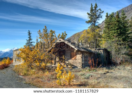 HDRI of an abandoned log cabin near Kluane Lake on a beautiful sunny day in the Yukon.