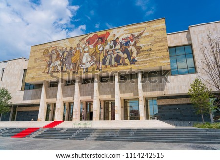 he building of National Museum of History in center of Tirana, albania.