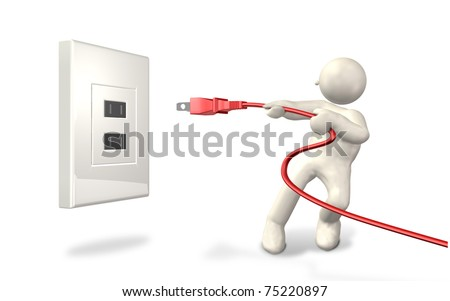He has pulled the plug from the outlet.This is a computer generated image,on white background.