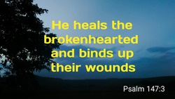 He heals the brokenhearted and binds up their wounds bible verse with silhouette of tree on sky background
