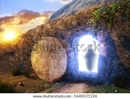 He is Risen. Crucifixion at Sunrise. The Tomb Of Jesus. The silhouette of the savior Jesus. Outside view on Tomb. 3D illustration. Mixed media.