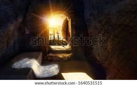 He is Risen. Empty tomb of Jesus with Shroud. Crucifixion of savior Jesus at Sunrise. -3d rendering. - Illustration. Mixed media.