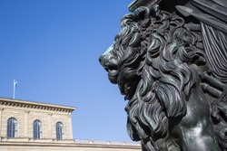Head and mane of the Bavarian lion in front of the Munich Residence heraldic animal and symbol of Bavaria for power strength prudence and justice
