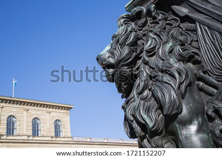 Head and mane of the Bavarian lion in front of the Munich Residence heraldic animal and symbol of Bavaria for power strength prudence and justice Photo stock ©