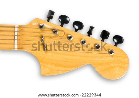 Head and neck of an electric guitar, clipping path, isolated.