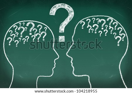Head and question in The Human Heads, Thinking Communication Concept