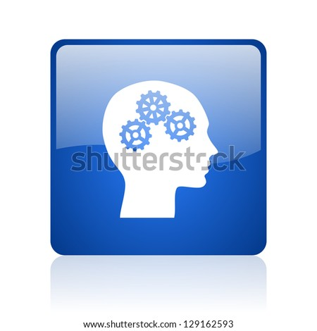 head blue square glossy web icon on white background