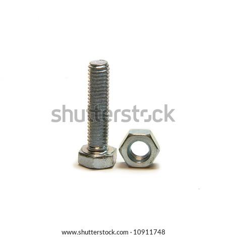 Head bolt and screw nut, close up