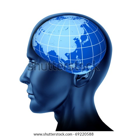 head brain asia orient business man economist investor stock marketsblue earth globe isolated on white - stock photo