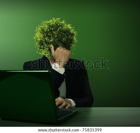 Head Business Trees with laptop