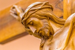 Head crowned with thorns in the Crucifixion of Jesus Christ,