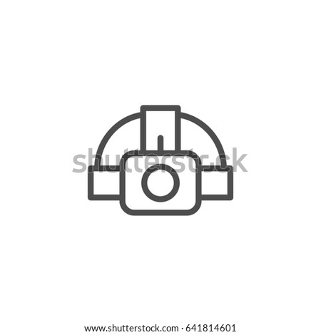 Head flashlight line icon isolated on white
