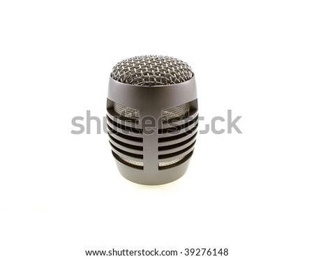 Head from silvery a microphone without a wire isolated on a white background