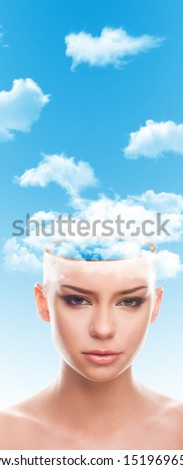 head in clouds surreal concept - portrait of beautiful young woman, girl with half head clouds instead of brain, thinking, dreaming, imagining, creative mind  #1519696550