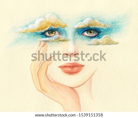 head in the clouds. dreams. beautiful woman. watercolor illustration