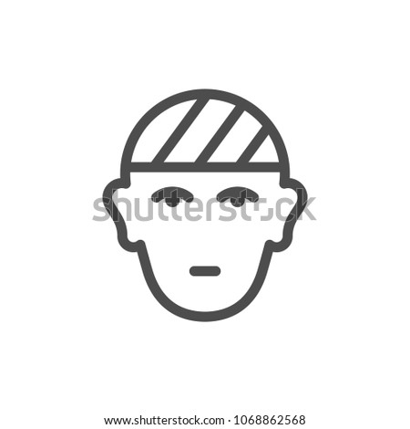 Head injury line icon isolated on white