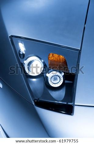 Head lamp details of futuristic sports car