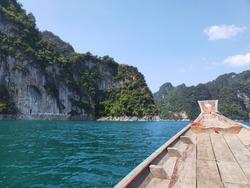 Head Long tail Thai boat on Chew Lan Dam (Ratchaprapa Dam) at Khao Sok National Park, Surat Thani Province, Thailand