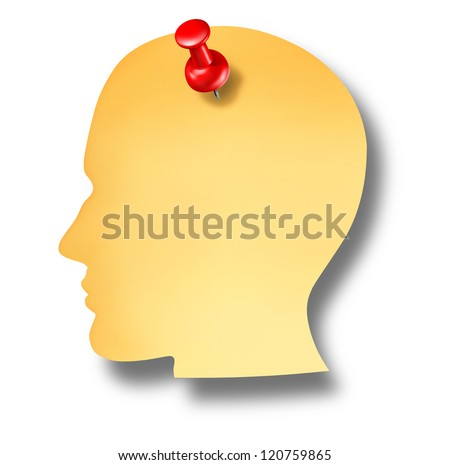 Head notes with a blank yellow paper note and a red thumb tack pin as a health care dementia symbol of memories and a business reminder as a to do list.