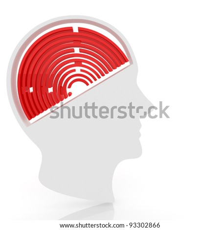 head of a man with a maze instead of the brain. Computer Simulation