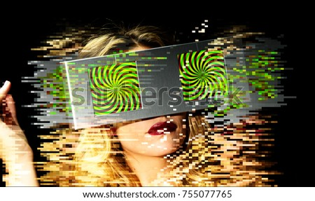 head of a woman with 2 video screens as eyes. the screens have a hypnotic pattern on them