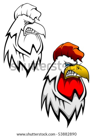 Head of angry rooster for tattoo or mascot design or logo template. Vector version also available in gallery