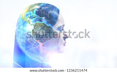 Head of beautiful woman with double exposure of Earth and triangular pattern. Environment protection concept. Toned image mock up Elements of this image furnished by NASA #1236211474