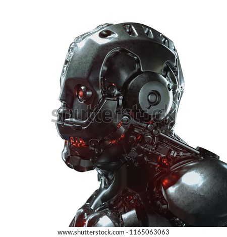 Stock Photo Head of cyborg with red luminous eyes. Science fiction helmet with a shiny dark metal. Robot with artificial intelligence. Artificial face. Futuristic soldier concept. 3D rendering on white background