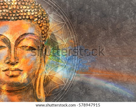 head of Lord Buddha digital art collage combined with watercolor. Buddha Purnima Background