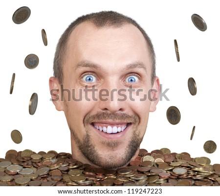 head of man in a heap of euro coins, rain of money