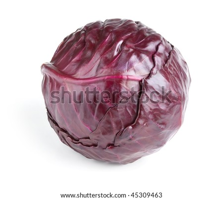 head of red cabbage isolated on a white