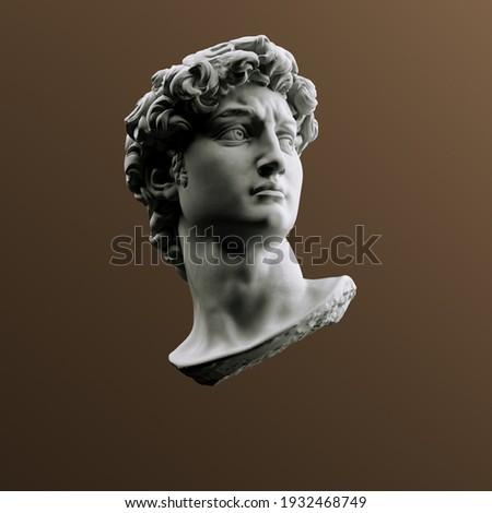 Head of statue, David sculpture bust, 3d rendering