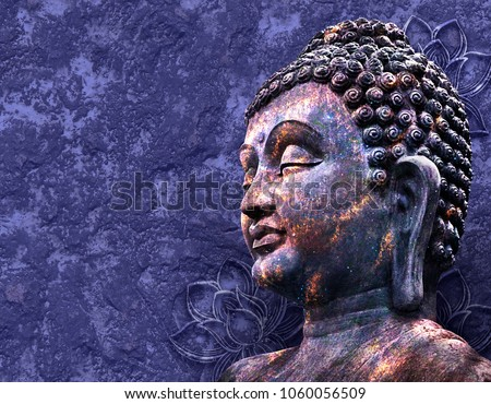 Head of the Lord Buddha in profile on a blue background. Collage, digital art.