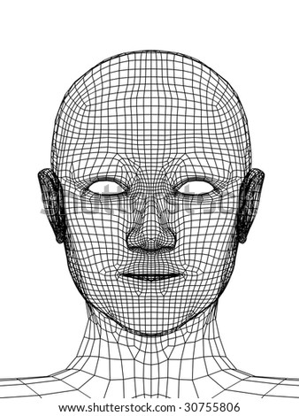 Head of the person from a black 3d grid
