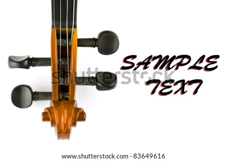 head of violin isolated on white