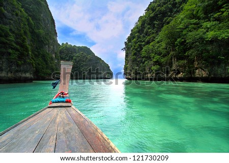 Head of wooden long tailed boat tour around Thailand Islands