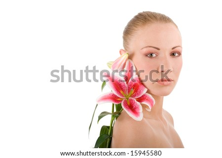 Head of young attractive woman with lily on isolated background