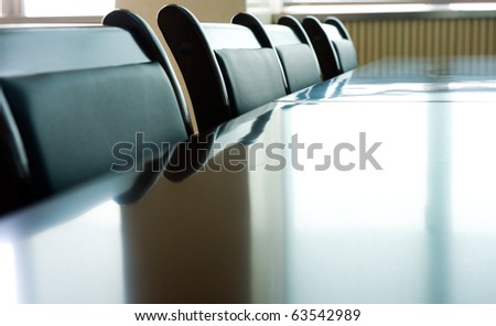 Head office boardroom with leather chairs. - stock photo