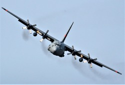 Head on C-130 Hercules during EAA Oshkosh airshow